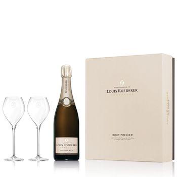 Champagne Louis Roederer Brut Premier mit 2 Flûtes