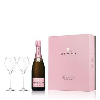 Champagne Louis Roederer Brut Rosé Vintage mit 2 Flûtes