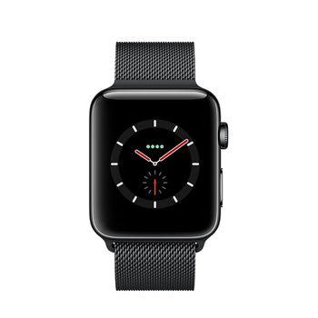 Apple Watch GPS+Cellular in Edelstahl Black 38mm - Milanaiseband