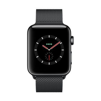 Apple Watch GPS+Cellular in Edelstahl Black 42mm - Milanaiseband