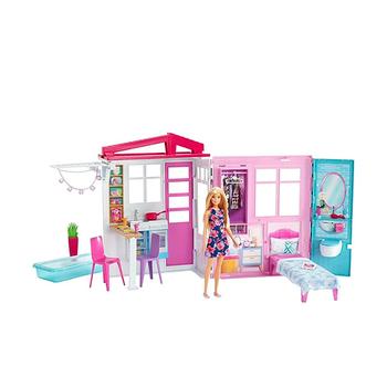 Barbie Ferienhaus mit Möbeln und Puppe